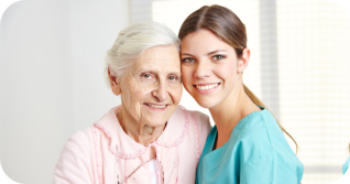 Happy senior and a nurse