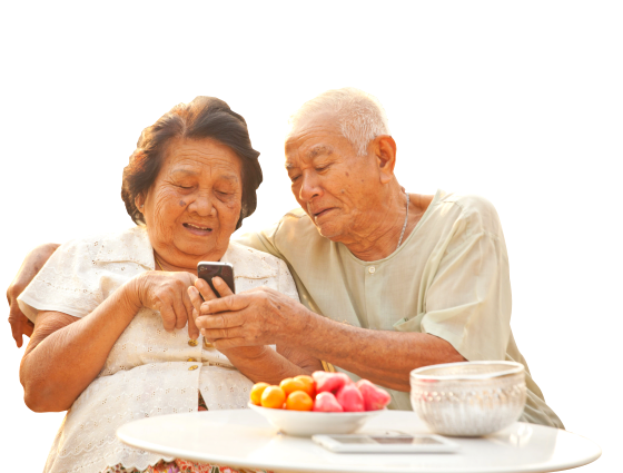 Senior couple using a cellphone